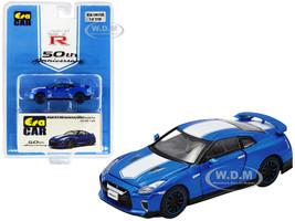 Nissan GT-R RHD Right Hand Drive Bayside Blue White Stripe 50th Anniversary Edition Limited Edition 1200 pieces 1/64 Diecast Model Car Era Car NS20GTRSP24B