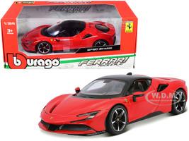 Ferrari SF90 Stradale Red Black Top 1/24 Diecast Model Car Bburago 26028