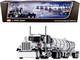 """Peterbilt 359 Day Cab Black Silver Chrome 36"""" Sleeper Bunk Polar Deep Drop Tank Trailer 1/64 Diecast Model DCP First Gear 60-0773"""