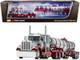 "Peterbilt 359 Day Cab Glacier Silver Coral Red Chrome 36"" Sleeper Bunk Polar Deep Drop Tank Trailer 1/64 Diecast Model DCP First Gear 60-0774"