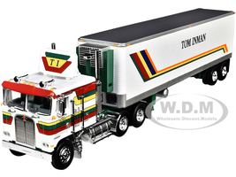 Kenworth K100 COE Flattop 40' Vintage Reefer Refrigerated Trailer Tom Inman Trucking White with Stripes 35th Fallen Flag Series 1/64 Diecast Model DCP First Gear 60-0847