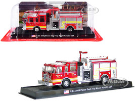 2006 Pierce Dash Top Mount Pumper Fire Engine Red Wichita Fire Department Kansas 1/64 Diecast Model Amercom ACGB16