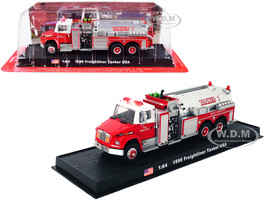 1999 Freightliner Tanker Fire Engine Red White Volunteer Fire Department 1/64 Diecast Model Amercom ACGB21