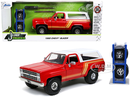1980 Chevrolet Blazer Red White Top Stripes Extra Wheels Just Trucks Series 1/24 Diecast Model Car Jada 32308