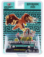 1973 Chevrolet Custom Deluxe 10 Pickup Truck Bed Cover Black Turquoise Graphics Limited Edition 5500 pieces Worldwide Riverside Show 2020 1/64 Diecast Model Car M2 Machines 31500-RZ01