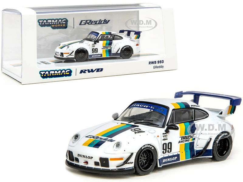 Porsche RWB 993 #99 GReddy White Stripes RAUH-Welt BEGRIFF 1/64 Diecast Model Car Tarmac Works T64-017-GDY