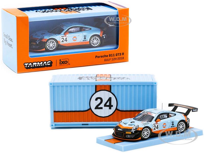 Porsche 911 GT3 R #24 Gulf 12 Hours 2018 Container RAUH-Welt BEGRIFF 1/64 Diecast Model Car Tarmac Works T64-032-18GULF
