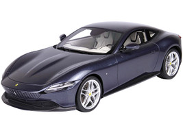 2019 Ferrari Roma Blue Roma Metallic White Interior DISPLAY CASE Limited Edition 99 pieces Worldwide 1/18 Model Car BBR P18185 D