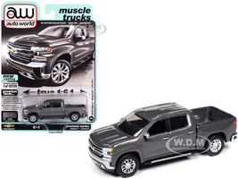 2019 Chevrolet Silverado LTZ Z71 Pickup Truck Satin Steel Gray Metallic Muscle Trucks Limited Edition 10720 pieces Worldwide 1/64 Diecast Model Car Autoworld 64282 AWSP053 A