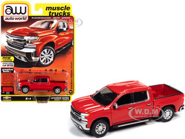 2019 Chevrolet Silverado LTZ Z71 Pickup Truck Red Hot Muscle Trucks Limited Edition 10720 pieces Worldwide 1/64 Diecast Model Car Autoworld 64282 AWSP053 B