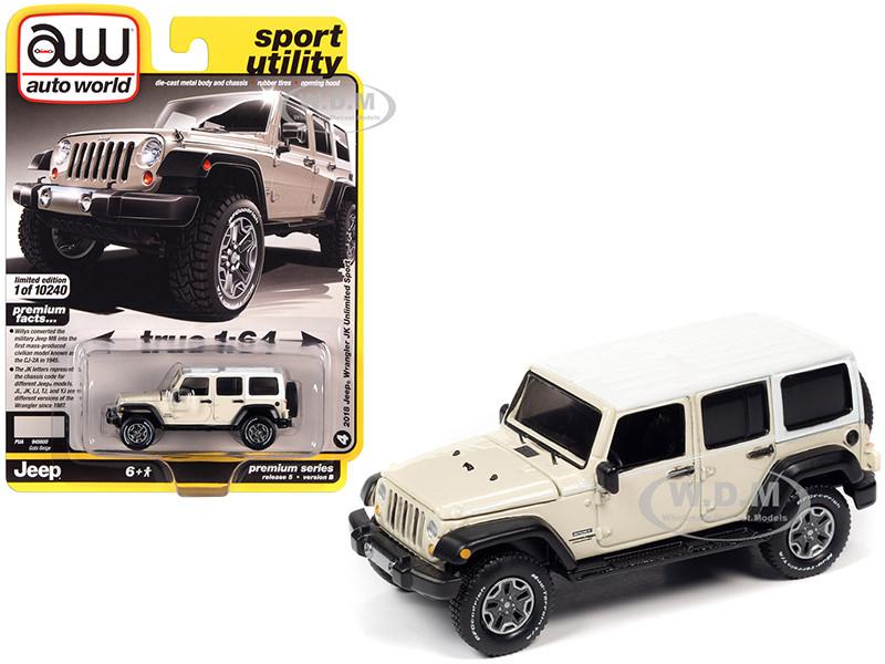 2018 Jeep Wrangler JK Unlimited Sport Gobi Beige White Top White Stripes Sport Utility Limited Edition 10240 pieces Worldwide 1/64 Diecast Model Car Autoworld 64282 AWSP054 B