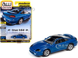1991 Dodge Stealth R/T Twin Turbo Mystic Blue Metallic Black Top Modern Muscle Limited Edition 10240 pieces Worldwide 1/64 Diecast Model Car Autoworld 64282 AWSP056 B