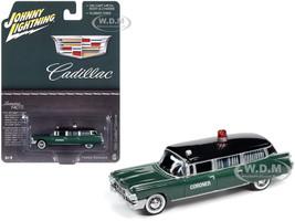 1959 Cadillac Coroner Green Metallic Black Top Special Edition 1/64 Diecast Model Car Johnny Lightning JLSP100
