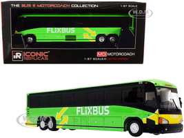 MCI D4505 Motorcoach Bus Phoenix Arizona Flixbus Bright Green Yellow The Bus & Motorcoach Collection 1/87 HO Diecast Model Iconic Replicas 87-0220