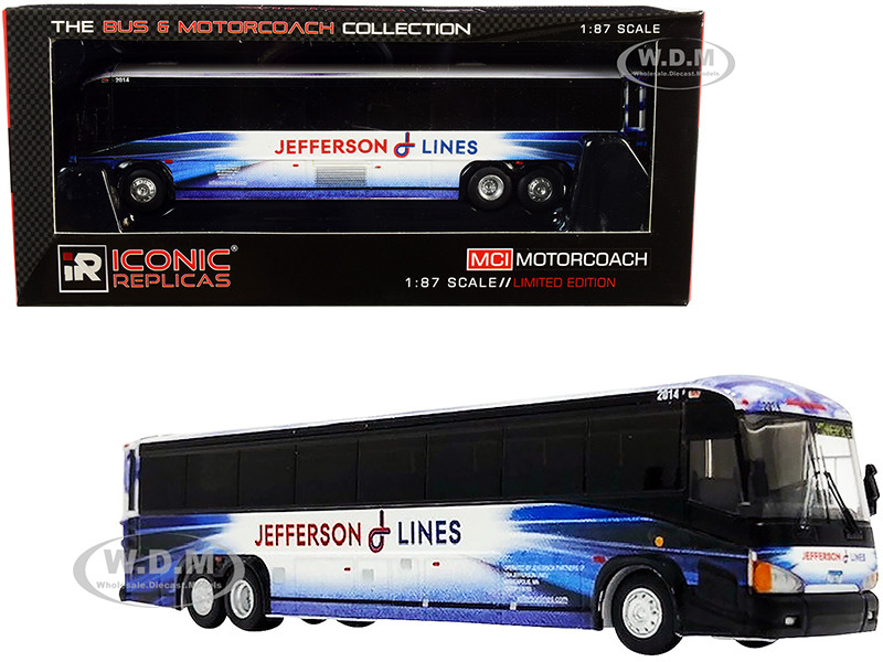 MCI D4505 Motorcoach Bus Jefferson Lines Blue White The Bus & Motorcoach Collection 1/87 HO Diecast Model Iconic Replicas 87-0221