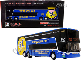 Van Hool TDX Double Decker Bus Blue #M23 Philadelphia New York MegaBus The Bus & Motorcoach Collection 1/87 HO Diecast Model Iconic Replicas 87-0227