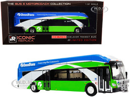 New Flyer Xcelsior XN40 Transit Bus Bike Rack #10 OmniTrans San Bernardino Green with Blue White Stripes The Bus & Motorcoach Collection 1/87 HO Diecast Model Iconic Replicas 87-0235