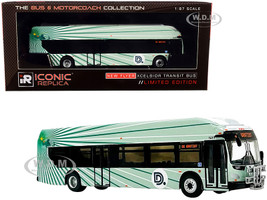 New Flyer Xcelsior XN40 Transit Bus Bike Rack #6 DDOT The Detroit Department of Transportation Green The Bus & Motorcoach Collection 1/87 HO Diecast Model Iconic Replicas 87-0258