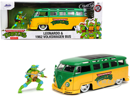 1962 Volkswagen Bus Yellow Green Leonardo Diecast Figurine Teenage Mutant Ninja Turtles TV Series 1/24 Diecast Model Car Jada 31786