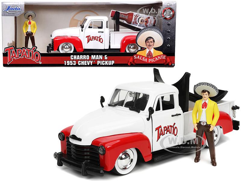 1953 Chevrolet Pickup Truck White Red Charro Man Diecast Figurine Tapatio 1/24 Diecast Model Car Jada 31968