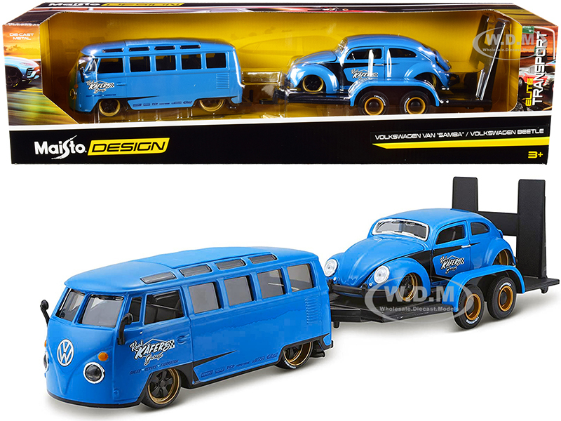 Volkswagen Van Samba Volkswagen Beetle Flatbed Trailer Blue Kool Kafers Set of 3 pieces Elite Transport Series 1/24 Diecast Model Cars Maisto 32752