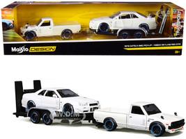 1973 Datsun 620 Pickup Truck White Metallic Nissan Skyline R34 GT-R White Metallic Flatbed Trailer Set of 3 pieces Elite Transport Series 1/24 Diecast Model Cars Maisto 32754