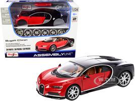 Model Kit Bugatti Chiron Red Black Skill 2 Assembly Line 1/24 Diecast Model Car Maisto 39514