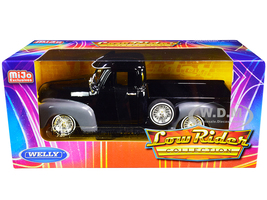 1953 Chevrolet 3100 Pickup Truck Black Gray Low Rider Collection 1/24 Diecast Model Car Welly 22087