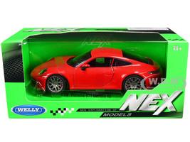Porsche 911 Carrera 4S Red Gray Wheels NEX Models 1/24 Diecast Model Car Welly 24099