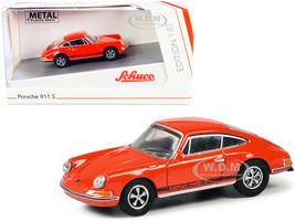 Porsche 911 S Orange Black Stripes 1/87 HO Diecast Model Car Schuco 452649900