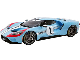 2020 Ford GT #1 Heritage Edition 1966 Le Mans Light Blue Red White Stripes 1/18 Model Car GT Spirit ACME US027