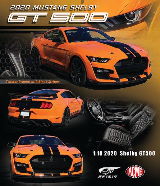 2020 Ford Mustang Shelby GT500 Twister Orange Black Stripes 1/18 Model Car GT Spirit ACME US035