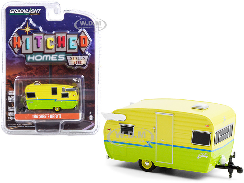 1962 Shasta Airflyte Travel Trailer Yellow Green Blue Stripe Hitched Homes Series 9 1/64 Diecast Model Greenlight 34090 E