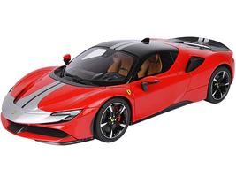 Ferrari SF90 Stradale Pack Fiorano Rosso Corsa 322 Red Black Top Silver Stripes DISPLAY CASE Limited Edition 48 pieces Worldwide 1/18 Model Car BBR P18188A1