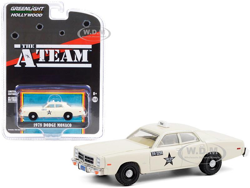 1978 Dodge Monaco Taxi Cream Lone Star Cab Co The A-Team 1983 1987 TV Series Hollywood Special Edition 1/64 Diecast Model Car Greenlight 44865 B