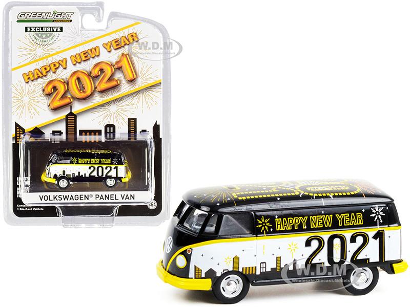 Volkswagen Panel Van Happy New Year 2021 Hobby Exclusive 1/64 Diecast Model Greenlight 30222