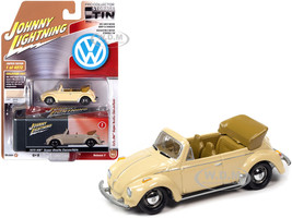 1975 Volkswagen Super Beetle Convertible Top Down Ivory Collector Tin Limited Edition 4972 pieces Worldwide 1/64 Diecast Model Car Johnny Lightning JLCT005 JLSP107 B