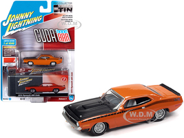 1970 Plymouth AAR Barracuda Vitamin C Orange Black Stripes Hood Collector Tin Limited Edition 4540 pieces Worldwide 1/64 Diecast Model Car Johnny Lightning JLCT005 JLSP108 A