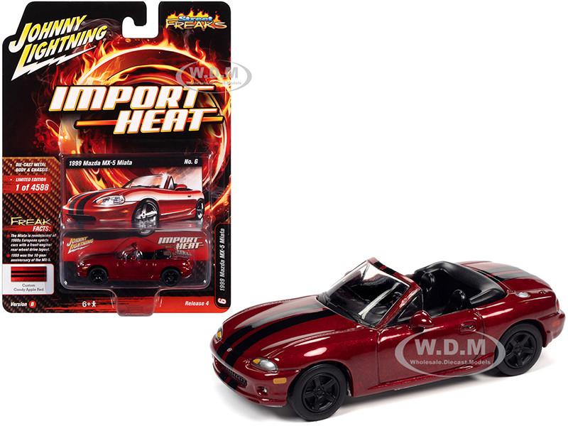 1999 Mazda MX-5 Miata Convertible Custom Candy Apple Red Metallic Black Stripes Import Heat Limited Edition 4588 pieces Worldwide 1/64 Diecast Model Car Johnny Lightning JLSF018 JLSP111 B