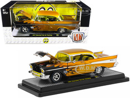 1957 Chevrolet Bel Air Hardtop Mooneyes Liquid Gold Black Flames Limited Edition 6880 pieces Worldwide 1/24 Diecast Model Car M2 Machines 40300-81 A