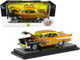 1957 Chevrolet Bel Air Hardtop Mooneyes Liquid Gold Black Flames Limited Edition 6880 pieces Worldwide 1/24 Diecast Model Car M2 Machines 40300-81 A