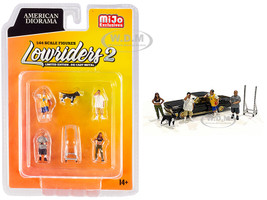 Lowriders 2 6 piece Diecast Set 4 Figurines 1 Dog 1 Accessory 1/64 Scale Models American Diorama 76461