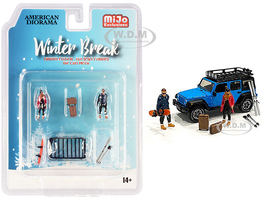 Winter Break Diecast Set 6 pieces 2 Figurines 4 Accessories 1/64 Scale Models American Diorama 76462