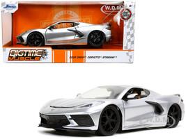 2020 Chevrolet Corvette Stingray C8 Candy Silver Bigtime Muscle 1/24 Diecast Model Car Jada 32539