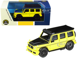 Mercedes AMG G63 Liberty Walk Wagon Bright Yellow Black Hood Top 1/64 Diecast Model Car Paragon PA-55164