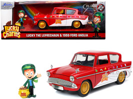 1959 Ford Anglia Red White Lucky the Leprechaun Diecast Figurine Lucky Charms 1/24 Diecast Model Car Jada 32200