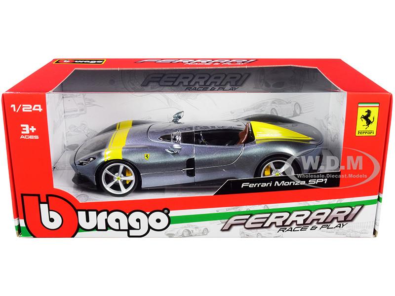 Ferrari Monza Sp1 Silver Metallic Yellow Stripes 1 24 Diecast Model Car Bburago 26027