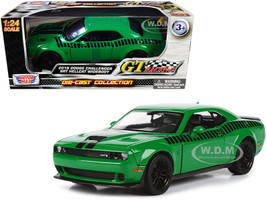 2018 Dodge Challenger SRT Hellcat Widebody Green Black Stripes GT Racing Series 1/24 Diecast Model Car Motormax 73786