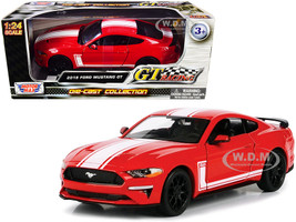 2018 Ford Mustang GT 5.0 Red White Stripes GT Racing Series 1/24 Diecast Model Car Motormax 73787