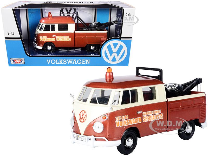Volkswagen Type 2 T1 Tow Truck Volkswagen Specialists Brown Metallic Cream 1/24 Diecast Model Car Motormax 79585